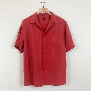 Oakley Red Short Sleeve Button Down Rayon Shirt M